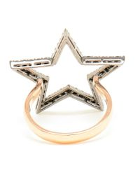 Rosa De La Cruz | Black 18k Rose Gold And Diamond Ring | Lyst