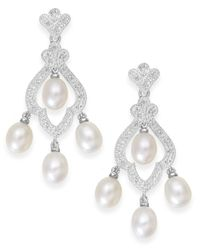 Macy's - Metallic Cultured Freshwater Pearl (6mm) And Diamond(1/10 Ct. T.w.) Earrings In Sterling Silver - Lyst
