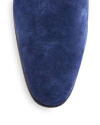 Saks Fifth Avenue Blue Suede Monk-strap Shoes for men
