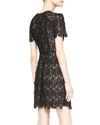 Erdem - Black Aubrey Short-sleeve Lace Mini Dress - Lyst
