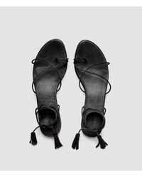 AllSaints - Black Dorica Flat Sandal - Lyst
