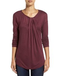 Halogen | Purple Long Sleeve Knot Front Top | Lyst
