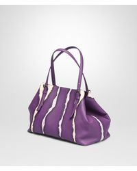 Bottega Veneta Purple Monalisa Washed Nappa Intrecciato Glimmer Tote Bag