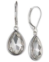 Nine West | Metallic Silver-tone Crystal Teardrop Earrings | Lyst