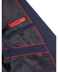 HUGO | Blue Check Slim Fit Suits for Men | Lyst