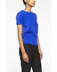 Nicole Miller - Blue Angora Short Sleeve Sweater - Lyst