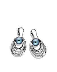 David Yurman | Metallic Pearl Crossover Earrings With Diamonds | Lyst