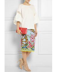 Dolce & Gabbana - Blue Printed Stretchsilk Crepe Pencil Skirt - Lyst