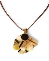 Marni - Natural Beige Single Tartan Flower Cattle Horn Necklace - Lyst