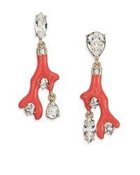 Oscar de la Renta | Orange Coral Resin & Crystal Clip-on Drop Earrings | Lyst