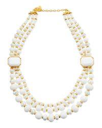 Jose & Maria Barrera | Metallic Triplestrand White Beaded Necklace | Lyst