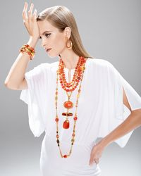 Jose & Maria Barrera - Metallic Long 24k Gold-plate Bead Necklace - Lyst