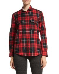 Zadig & Voltaire - Black Tessy Printed Plaid Button-down Shirt - Lyst
