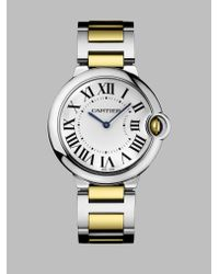 Cartier Metallic Ballon Bleu De 18k Yellow Gold & Stainless Steel Automatic Bracelet Watch