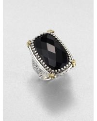 Konstantino | Black Onyx Sterling Silver 18k Yellow Gold Ring | Lyst