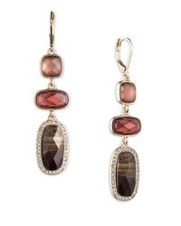 Anne Klein | Pink Triple-drop Crystal Earrings | Lyst