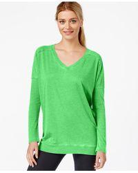 Calvin Klein | Green Performance V-neck Top | Lyst