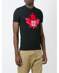 DSquared² Red Leaf Print T-shirt for men