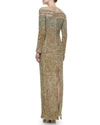 Pamella Roland Metallic Illusion Ombré Sequined Gown