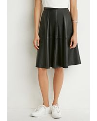 Forever 21 Black Faux Leather A-line Skirt