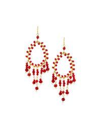 Nakamol | Red Golden Crystal Teardrop Dangle Earrings | Lyst