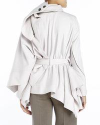 Ann Demeulemeester - White Light Grey Asymmetrical Belted Coat - Lyst