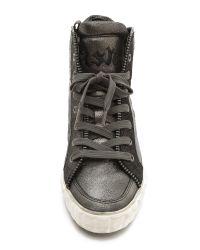 Ash Shake High Top Zipper Sneakers - Black/Graphite/Graphite