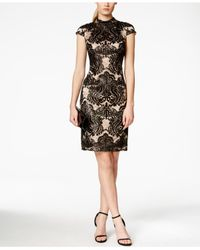 Vince Camuto Black Cap-sleeve Lace-overlay Dress