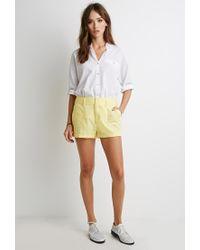 Forever 21 - Yellow Cuffed Linen-blend Shorts - Lyst