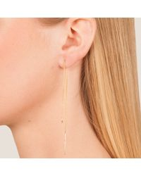 Dutch Basics - Metallic Cylinder Drop Chain Earring Rose Gold Small - Lyst