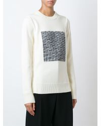 AALTO | White Contrast Knit Panel Sweater | Lyst