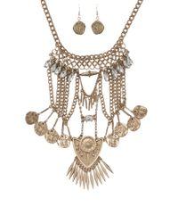 AKIRA Metallic Bazaar Necklace Coin Earring Set