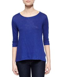 Neiman Marcus - Blue 3/4-sleeve Linen Knit Top - Lyst