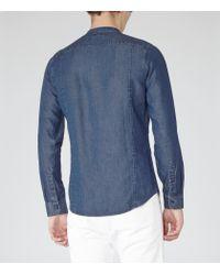 Reiss Blue Grit Grandad Collar Shirt for men