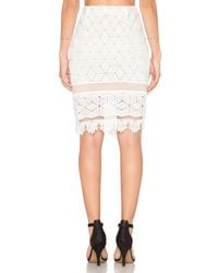 Endless Rose - White Lace Overlay Pencil Skirt - Lyst