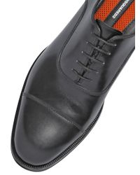 DSquared² - Black Waxed Leather Oxford Lace-up Shoes for Men - Lyst
