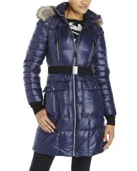Marc New York - Blue Belted Real Fur Trim Down Coat - Lyst