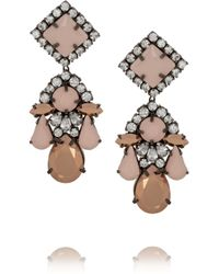 Shourouk | Pink Square Gunmetal-tone Crystal Earrings | Lyst