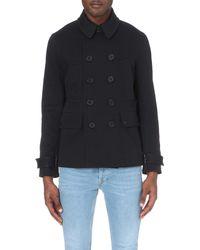 Sandro Blue Nautica Leather-detail Cotton-blend Coat for men