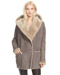 VINCE | Gray Hooded Genuine Shearling Jacket | Lyst