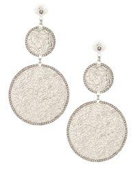 Fragments | Metallic Lace Disc Double Drop Earrings | Lyst