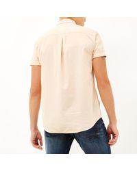 River Island - Light Orange Short Sleeve Twill Shirt for Men - Lyst