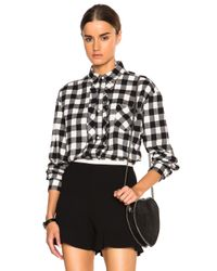 RED Valentino | Black Gingham Oversized Ruffle Top | Lyst