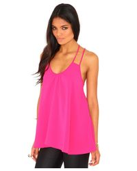 Missguided - Elishia Multi Strap Swing Top In Hot Pink - Lyst