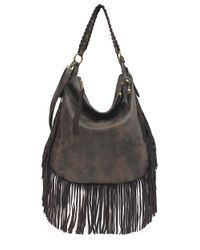 Jessica Simpson - Gray Delilah Faux Leather Fringed Crossbody Bag - Lyst