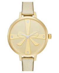 kate spade new york - Metallic 'metro - Strapped Up' Leather Strap Watch - Lyst