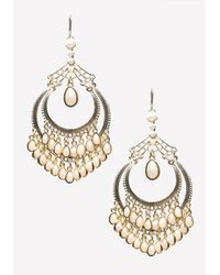 Bebe - White Pearlescent Drop Earrings - Lyst