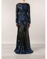 Badgley Mischka Black Sequin Gown