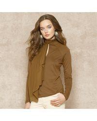 Ralph Lauren Blue Label - Brown Ruffled Silk Cotton blend Top - Lyst