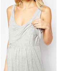 ASOS - Gray Nursing Maxi Floral Nightdress - Lyst